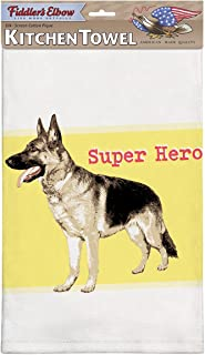 product image for Fiddler's Elbow Super Hero' German Shepherd Kitchen Towel, 100% Cotton Dog Themed Towel, Eco-Friendly Dish Towel with Hanging Loop