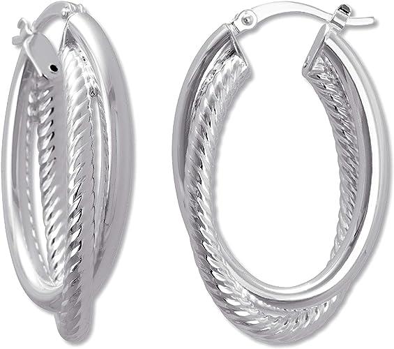 Ellen Tracy Jewelry Sterling Silver Double Twisted Oval Hoop Earrings
