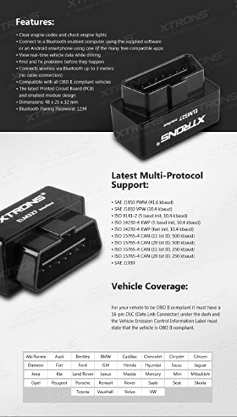 XTRONS® ELM327 Bluetooth OBD2 II V2 2 Android Car Auto Diagnostic Scanner  Tool Torque Special for Xtrons TD626AS TD696A PF61HGTA