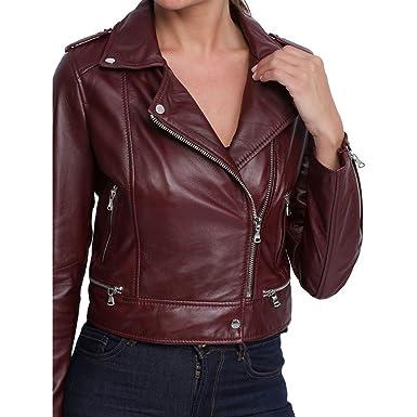 59335d7171e Blouson cuir femme Oakwood Yoko 62326 bordeaux  Amazon.fr  Vêtements ...
