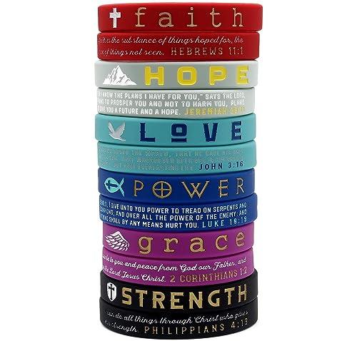 (12-Pack) Christian Inspirational Bible Bracelets, Variety Pack - Faith Hope Love