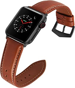 Compatible for Apple Watch Band 42mm 38mm 40mm 44mm for iWatch Series SE/6/5/4/3/2/1, Fullmosa 3 Colors Labu Leather Apple Watch Band/Strap, 42mm Dark Brown+Smoky Grey Hardware