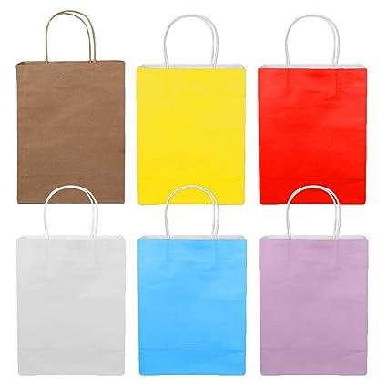 18 Piezas de Color Sólido Compras Bolsas de Papel Kraft con ...