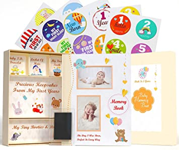 Hand//Footprint Kit and Baby Album Pages 30 Monthly Baby Milestone Stickers 5-in-1 First Five Years Baby Memory Book with Keepsake Box and Same Gender Parents Gender Neutral Baby Milestone Book
