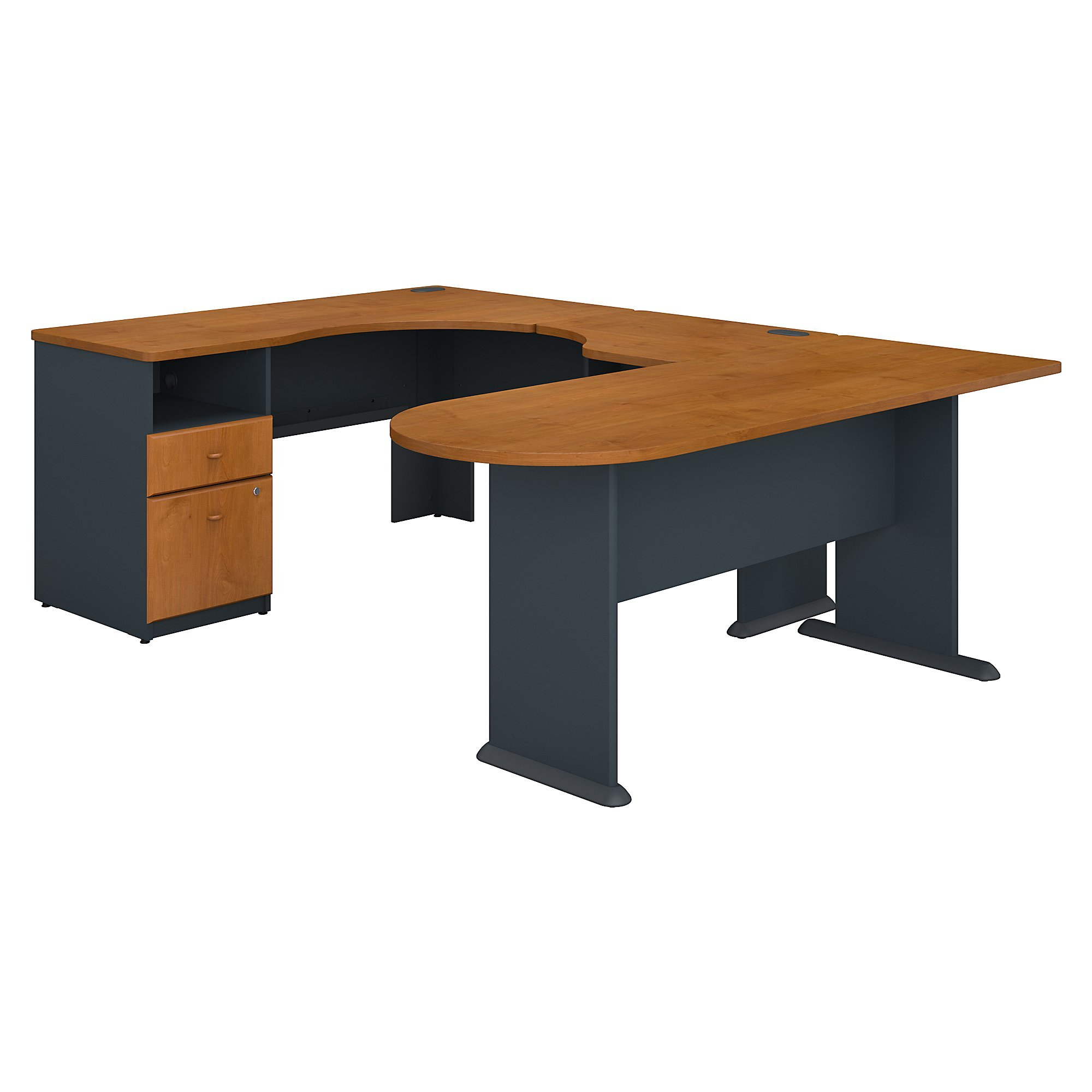 Bush Business Furniture Series A U Shaped Corner Desk with Peninsula and Storage in Natural Cherry and Slate
