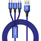 Baseus Multi Charger Cable, 3 en 1 4FT/1.24M 3.5A Cable USB Tipo C Carga+Cable Micro USB Carga+Cable Lightning USB para iPhone X/8/7/iPad/Macbook/Nexus 6P 5X/ Google Pixel/Samsung/Huawei/Android