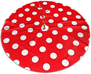"""Mount Hour Christmas Tree Skirt, Red White Polka Dot Xmas Large Tree Mat, New Year Festive Holiday Party Decorations 36"""" inches"""