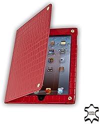 StilGut Prestige étui en cuir Croco Édition pour Apple iPad 2 en rouge et noir