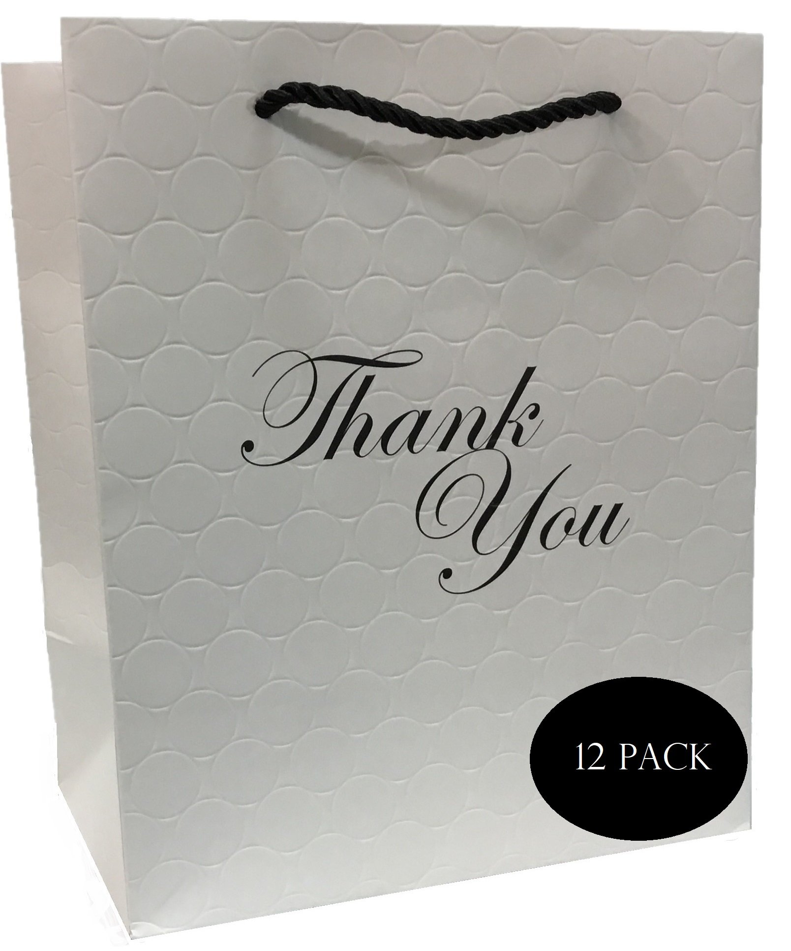 Thank You Gift Bag - Paper Shopping Bag 8 x 10 x 5 White Matte Elegant Euro Tote Heavy Duty 250 g Art Paper - Retail Merchandise/Boutique -Embossed 12 Pack- Modeeni Packaging (8 x 10, White)