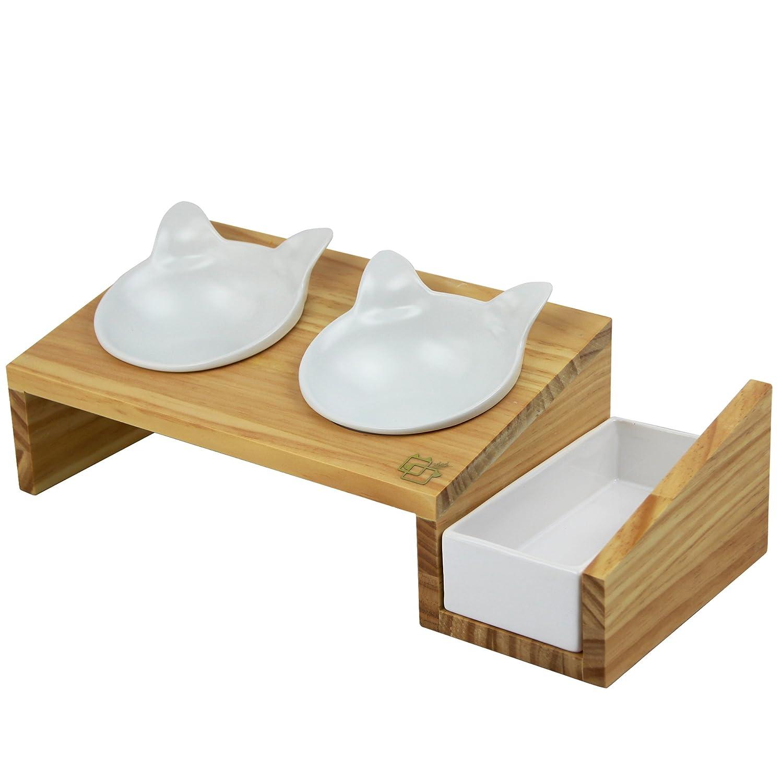 raised bowl feeder b dog pedestal products bowls designer summit pet elevated cat brown junkie