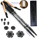 GATEONE Hiking Trekking Poles for Men Walking Sticks Collapsible for Women with Reflective Wrist Straps