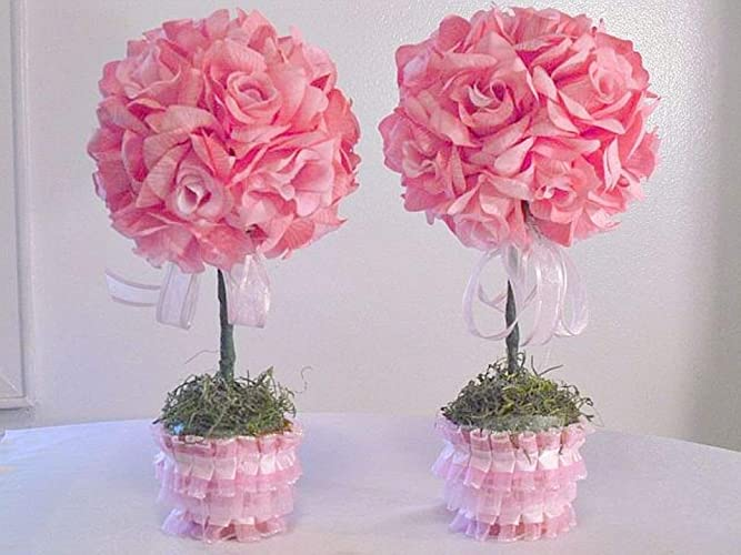 Amazoncom 2 Pink Silk Flower Centerpieces Pink Roses