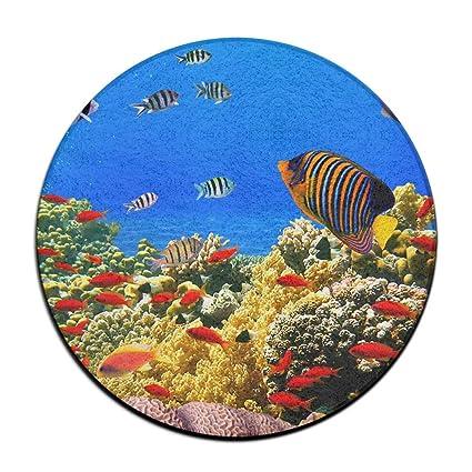 Phenomenal Amazon Com Feimao Coral Reef Tropical Fish Non Slip Round Beatyapartments Chair Design Images Beatyapartmentscom