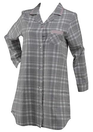 Waite Ltd Ladies 100% Cotton Tartan Check Nightshirt Button Up Pink Trim  Nightie Small ( 19e7560e6