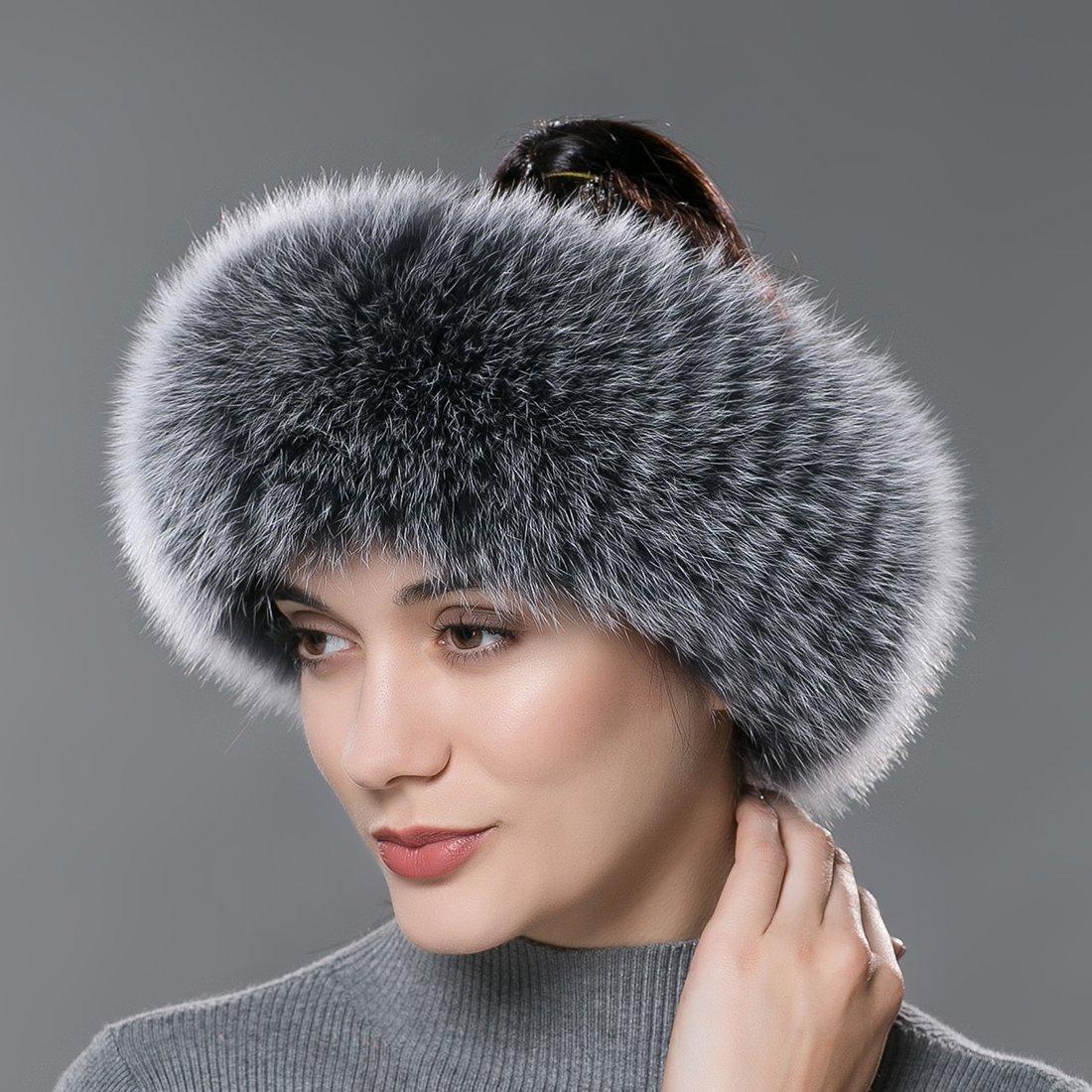 URSFUR Winter Fur Headband Women Warm Real Fox Fur Knitted Headband Earmuffs Gray Frost by URSFUR (Image #4)