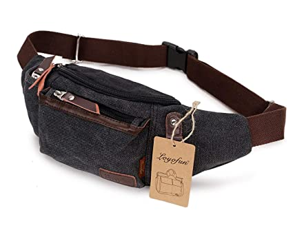 066a3136586a Loyofun Unisex Canvas Waist Bag Fanny Pack Hip Bum Bag for Men Women  Running Hiking Climbing