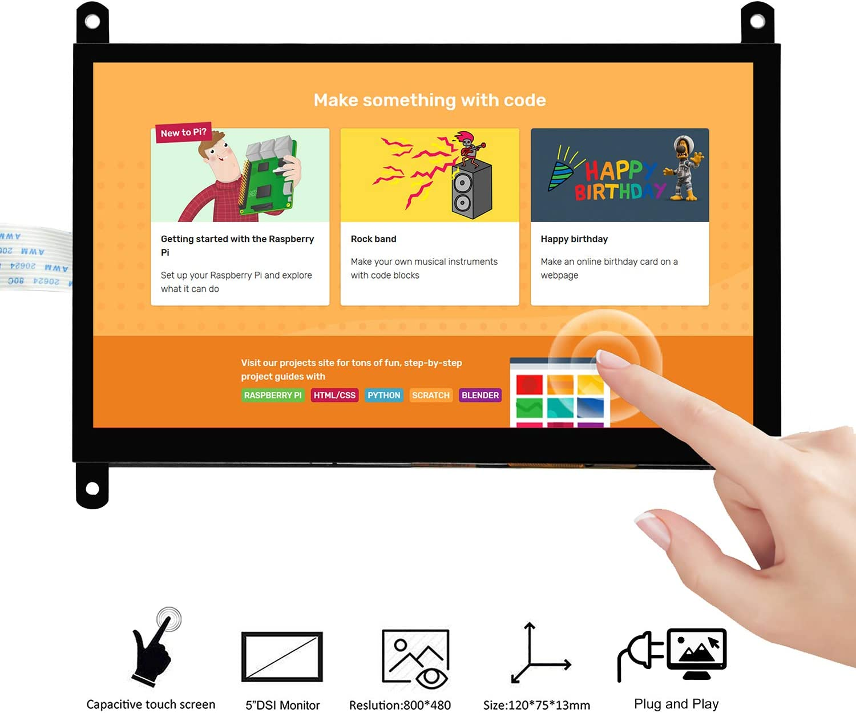 2 Capacitive Finger Touch screen OSOYOO 3.5 Inch DSI Touchscreen LCD Display for Raspberry Pi 4 B 3 Model B Plug and Play Monitor Compatible with Raspbain Ubuntu Kali RetroPie Windows 10 IOT core