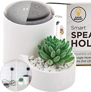 Echo Dot Holder   Google Mini Stand   2nd/3rd Generation   Smart Accessories Cover Case   Clear Speaker, Mic, Lighting   Multi-Functional Planter, Money, Keys, Candy, Ring Dish by Haus Bright