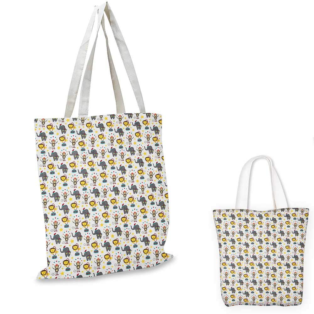 Baby canvas messenger bag Doodle Style Pattern for Kids with Forest Wildlife Animal Characters in Winter Clothes canvas beach bag Multicolor 12x15-10
