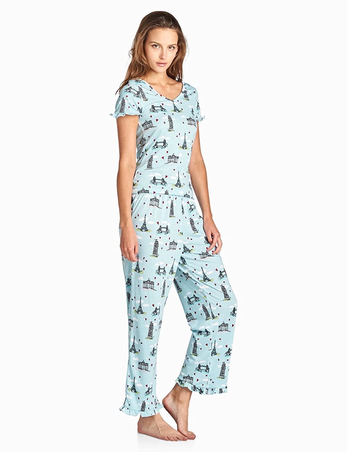 BedHead Pajamas BHPJ Women s Fitted Soft Knit Ruffle Short Sleeve Capri  Pajama Set BHPJ 11024- larger image c6a00ee5f