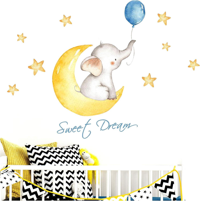 Little Deco Pegatin Elephant & Saying Sweet Dream I S - 103 x 47 cm (WxH) I Cuadros de Pared la Luna y Las Estrellas Tatuaje los Animales habitación niños Deco Baby Room Boy DL190