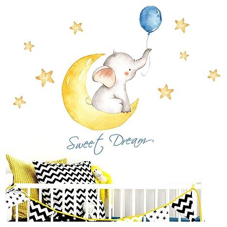 Little Deco Aufkleber Elefant & Spruch Sweet Dream I S - 103 x 47 cm (BxH) I Mond und Sterne Wandbilder Wandtattoo Kinderzimm