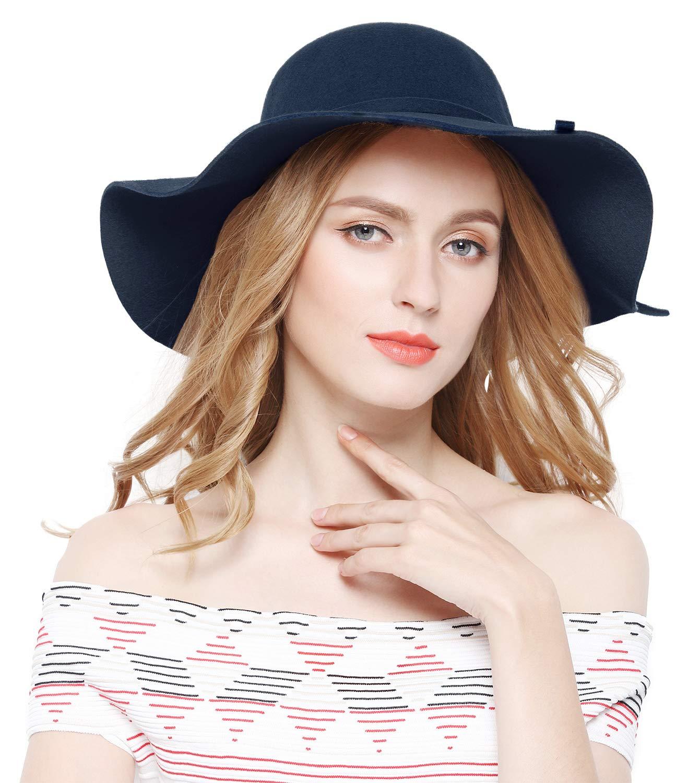 Lovful Women 100% Wool Wide Brim Cloche Fedora Floppy hat Cap,Navy by Lovful (Image #3)