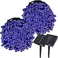 Yasolote 2 PACK Guirnalda de Luces 200 LED Solar Luces de Esterior 8 Modos para Decorar Patio, Jardín, Terraza, Fiesta, Navidad, Boda (Azul)