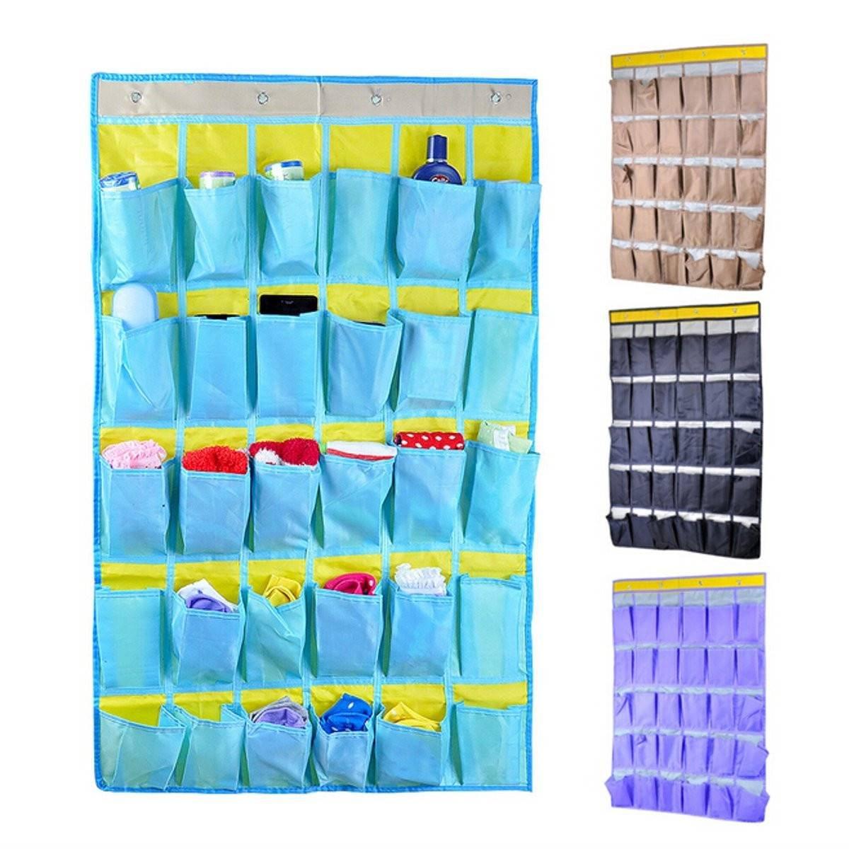 Bazaar 30Pockets Oxford Home Door Wall Hanging Hook Sundries Organizer Holder Rack Shoes Scoks Ties Cloth Storage Bag