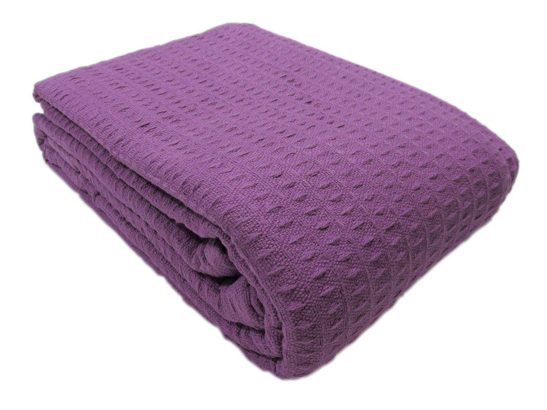 Santa Barbara Waffle Weave Blanket 100% Cotton FULL/QUEEN SIZE /Purple by Cozy Fleece