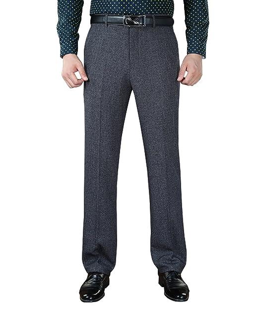 Amazon.com: yffushi hombre no-iron negocio pantalón recto ...