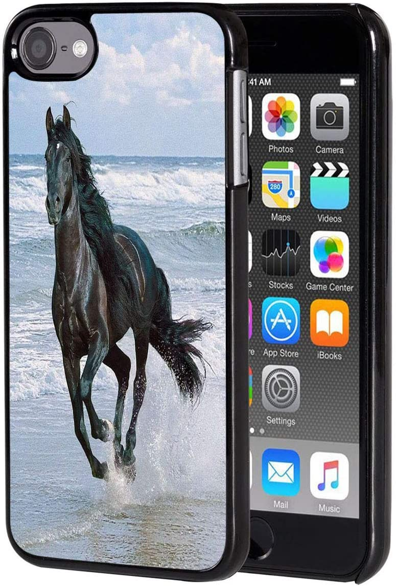 iPod Touch 6 Case,Vobber Shockproof Architecture Hard Plastic Protective Case Cover for Apple iPod Touch 6th Generation,Horse Running Sea Beach