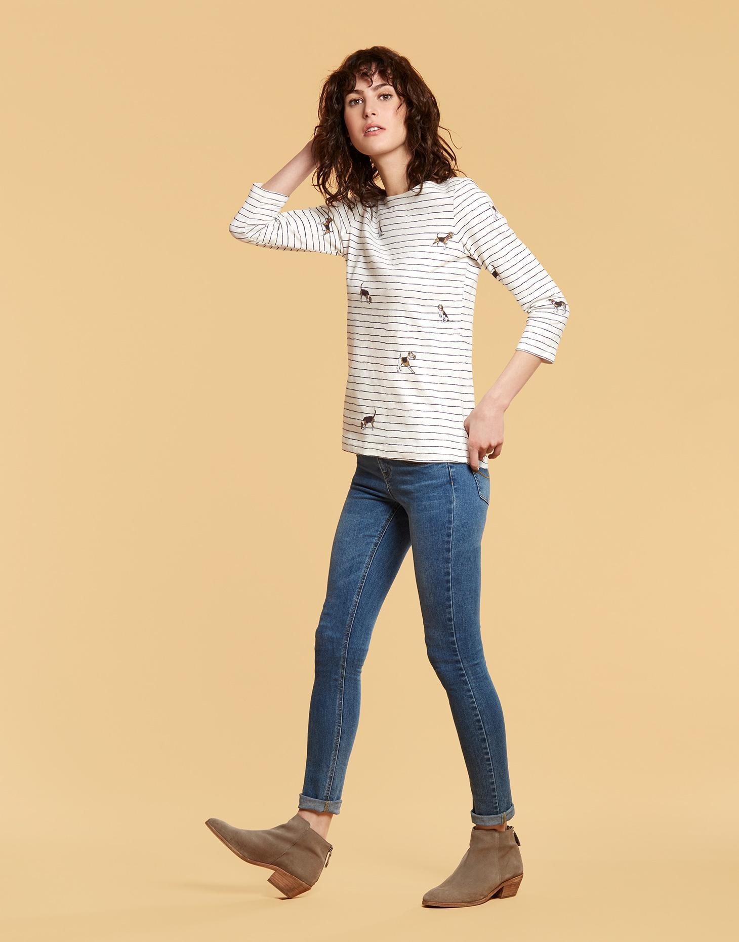 Joules Women's Harbour Printed Stripe Jersey Top (UK16 EU44 US12, Cream Stripe Dogs (Off-White))