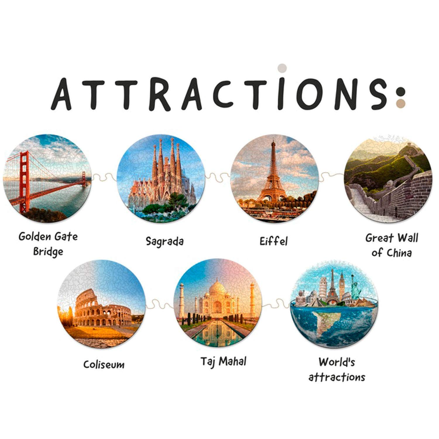 Gift for Travel Lover Unique Round Puzzles Golden Gate Bridge Attractions Wooden Jigsaw Puzzles For Adults Jigsaw Puzzle Games Wall Decor Best Christmas Gifts