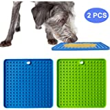 BWOGUE 2 Pack Pad for Dog Lick, Pet Boredom Buster Lick Mat Slow Feeders & Anxiety Relief, Perfect for Dog Food, Cat Food, Cat Treats, Yogurt, or Peanut Butter (Green & Blue)