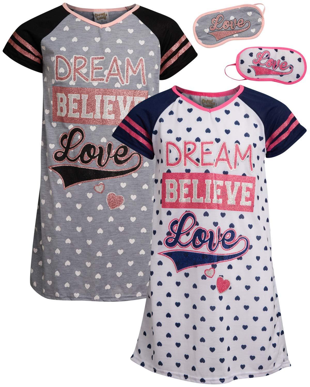 Sweet /& Sassy Girls Short Sleeve Hooded Nightgown Pajama 2 Pack