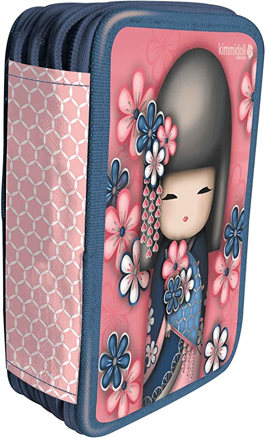 Kimmy Doll - Estuche con 3 Compartimentos y Accesorios de Escritorio: Kimmi Doll UVA Fragola 3 Zip Pencil Case Filled: Amazon.es: Juguetes y juegos