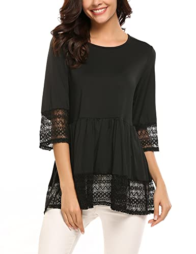 Soteer Womens Casual 3 4 Sleeve Loose Fitting Blouse Cute Lace Babydoll Tops T shirts
