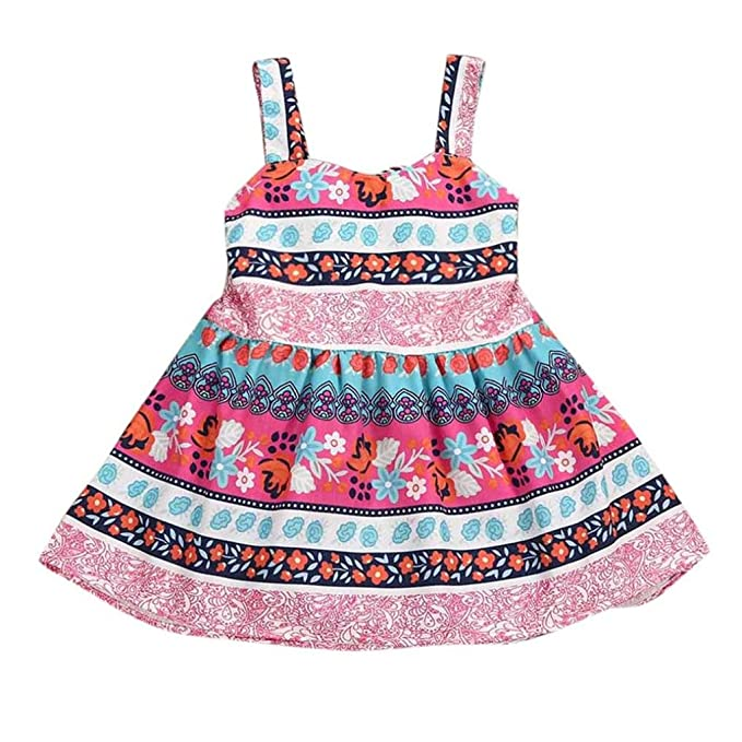 LANDFOX Ropa de Verano para bebés Vestidos de Princesa Vestidos de Chamarra (12 Meses)