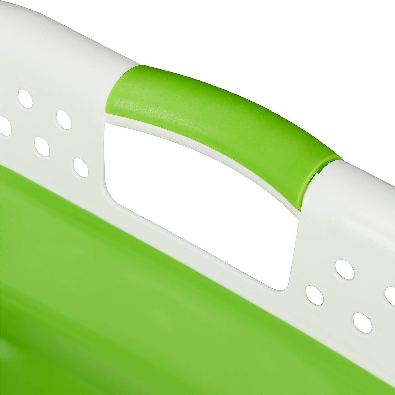 Plastica e Silicone Salvaspazio PP HxLxP 27 x 61 x 45,5 cm Relaxdays Grigio Cesto Portabiancheria Pieghevole con Manici 1 pz TPR