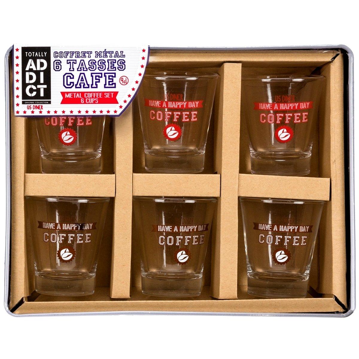 Coffret Cadeau Lot 6 Tasses Gobelet Expresso Imprim/é D/écor Vintage USA Am/éricain 9cl Promobo