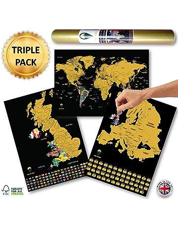 DGdolph Scratch Map World Map Semi-Manual Hanging Gilt Sheet Fashion Creative S Black
