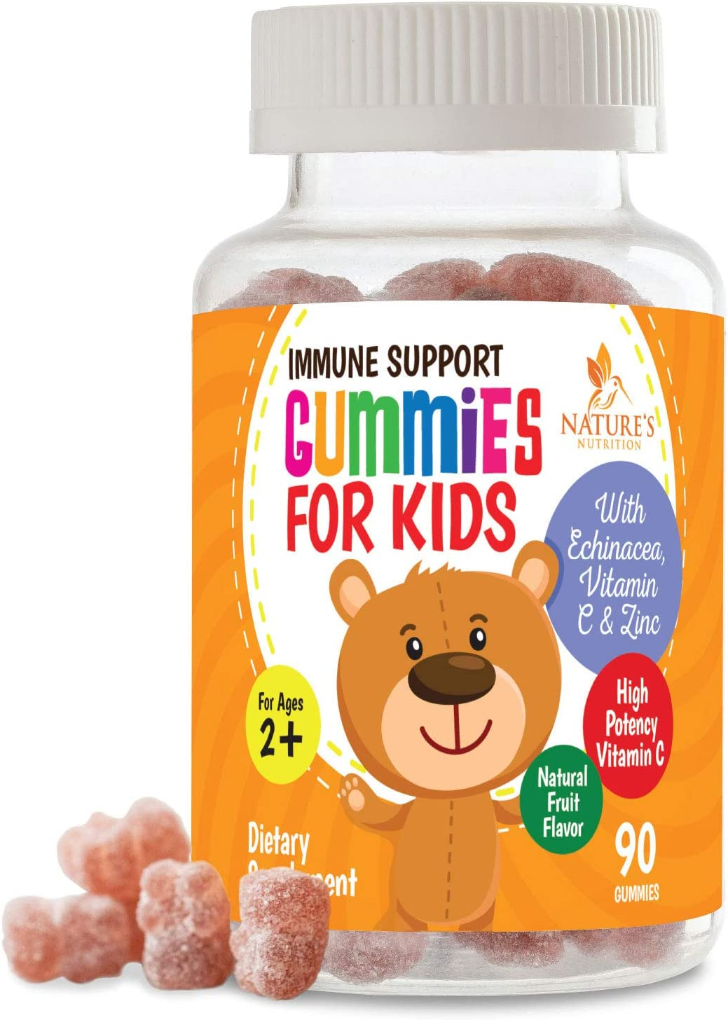Kids Immune Support Gummies with Vitamin C, Echinacea and Zinc - Children's Immunity System Booster & Vitamin C Gummy