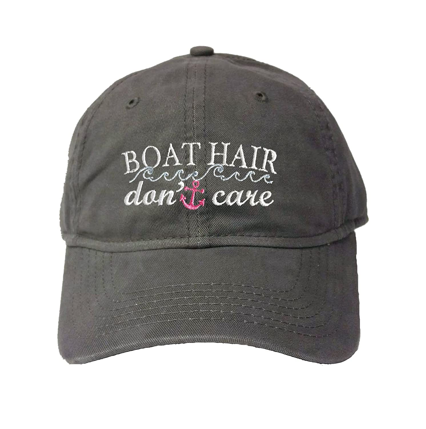 Go All Out Adult Boat Hair Don't Care Embroidered Deluxe Dad Hat