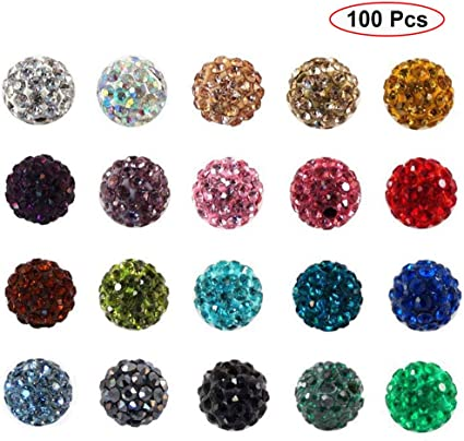 Shamballa Beads 100 Pcs Crystal Pave Balls Fit Braclet 10MM Ink Blue 5 row