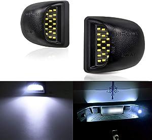LivTee Full LED License Plate Light White Lamp Assembly Waterproof For Cadillac Escalade Chevy Silverado 1500 2500 3500 Suburban Tahoe GMC Sierra 1500 2500 3500 Yukon XL, Xenon White(2-Pieces)