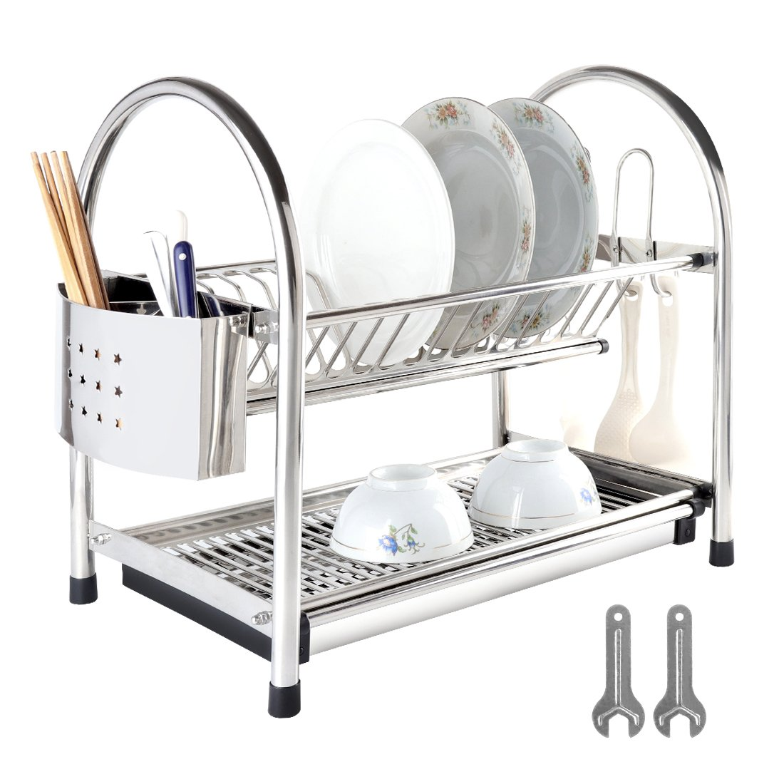 Dish Drying Rack 2 Tiers Dish Drainer Set Stainless Steel with Removable Utensil Holder & Hook Racks & Drain Board Set for Kitchen