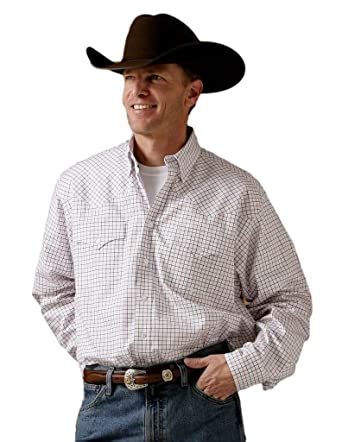 0ef8930e Miller Ranch Men's And Blue Plaid Pinpoint Long Sleeve Western Dress Shirt  White XX-Large | Amazon.com