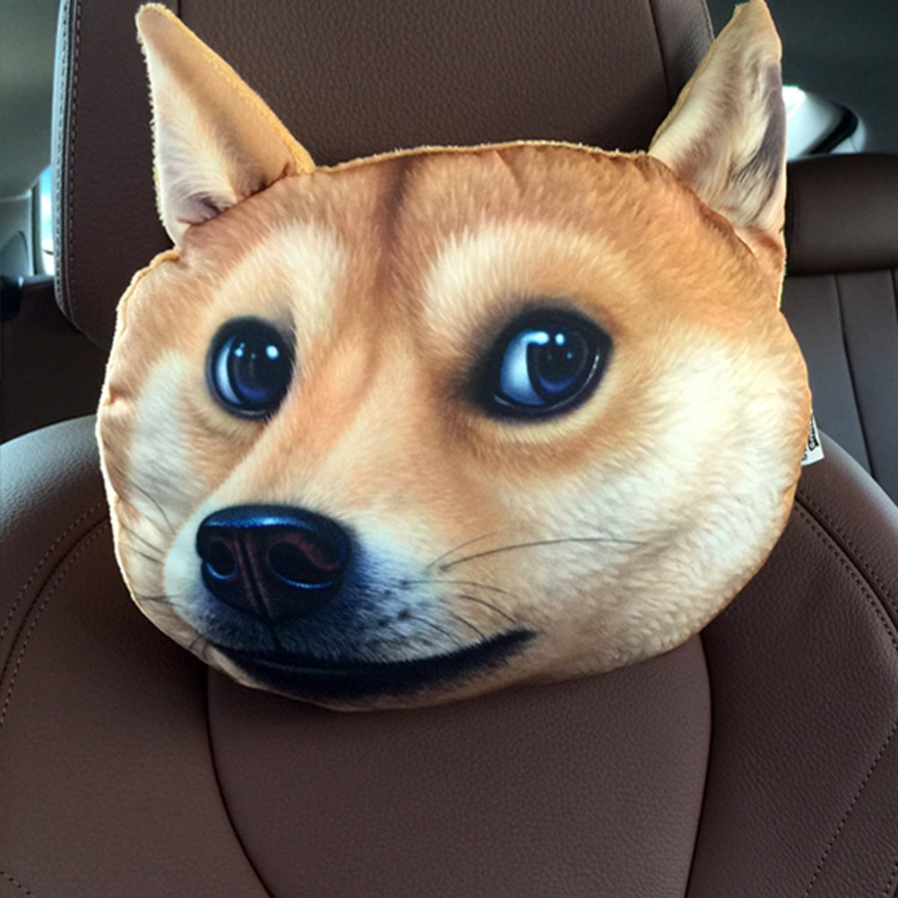 ZEALUX Comfortable Cute Doge Cat 3D Lifelike Printing Cotton Car Headrest Funny Headrest (Akita dog)