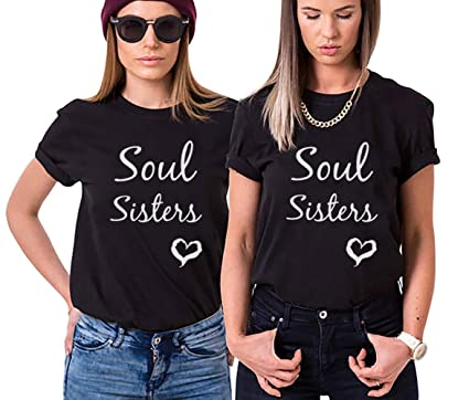 7e1020773 Amazon.com  Two Girl Friends Tee Matching Best Friend Shirt Soul Sister  Tshirt For Women Slogan  Clothing